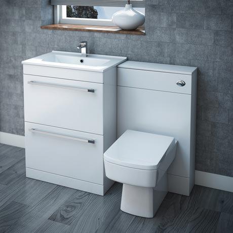 Nova High Gloss White Vanity Bathroom Suite - W1100 x D400/200mm