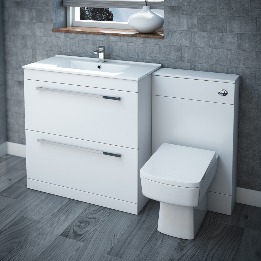 Nova high gloss white vanity bathroom suite w1300 x d400 for Bathroom cabinet ideas furniture