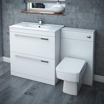 Nova High Gloss White Vanity Bathroom Suite - W1300 x D400/200mm Medium Image