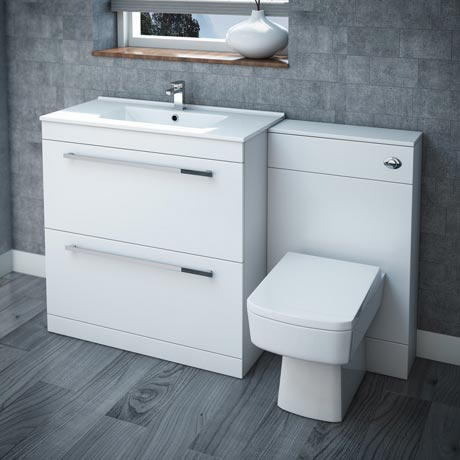 Nova high gloss white vanity bathroom suite w1300 x d400 for 200mm kitchen wall unit