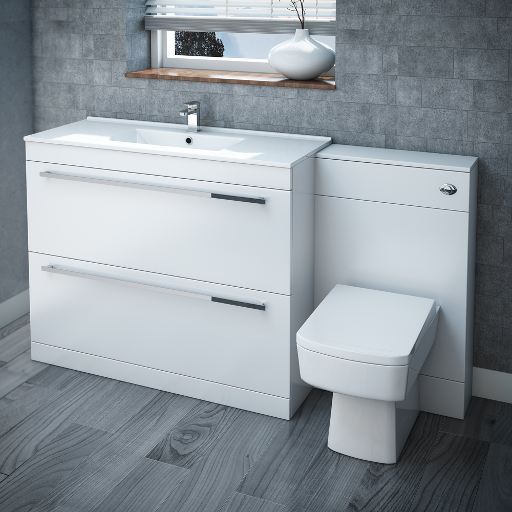 Nova High Gloss White Vanity Bathroom Suite - W1500 x D400/200mm Large Image