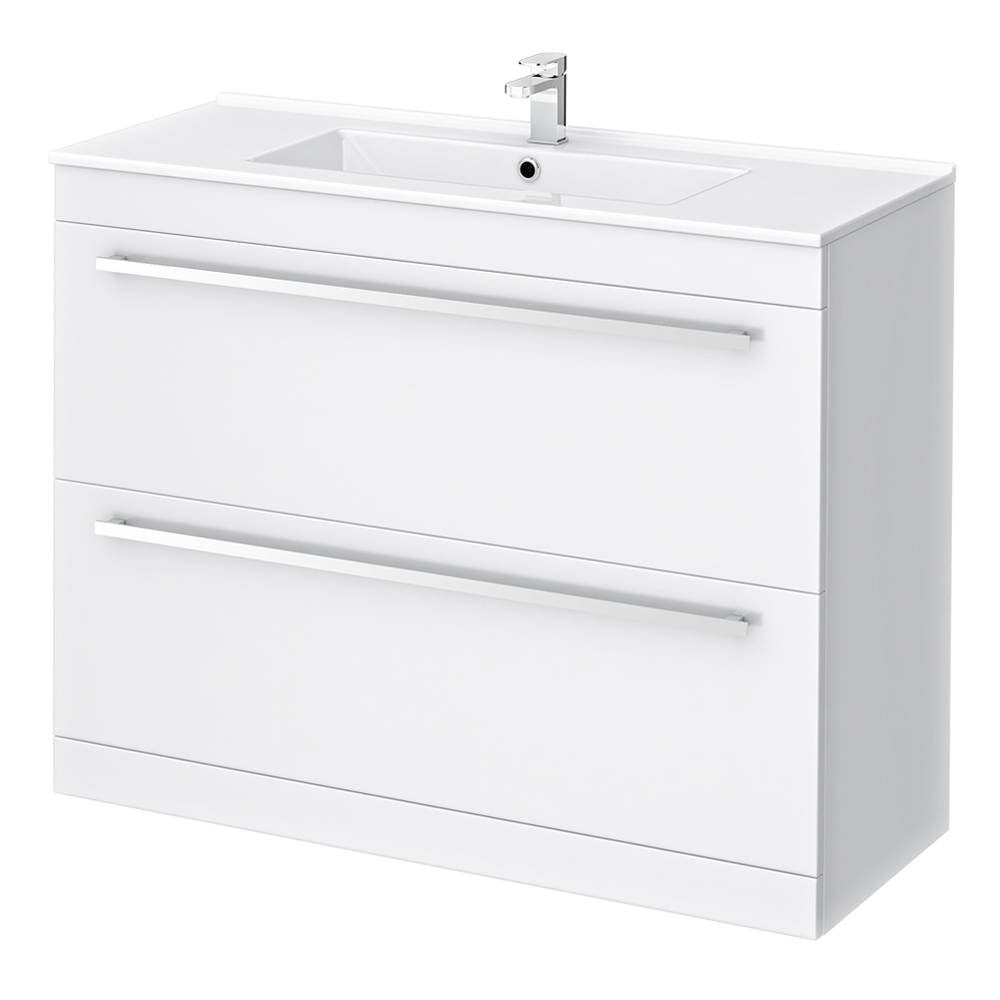 Nova High Gloss White Vanity Bathroom Suite - W1500 x D400/200mm Profile Large Image