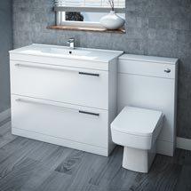 Nova High Gloss White Vanity Bathroom Suite - W1500 x D400/200mm Medium Image