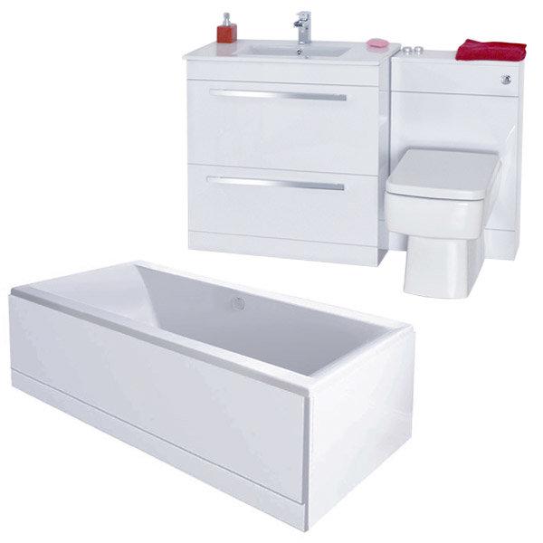 Nova High Gloss White Vanity Bathroom Suite With Square