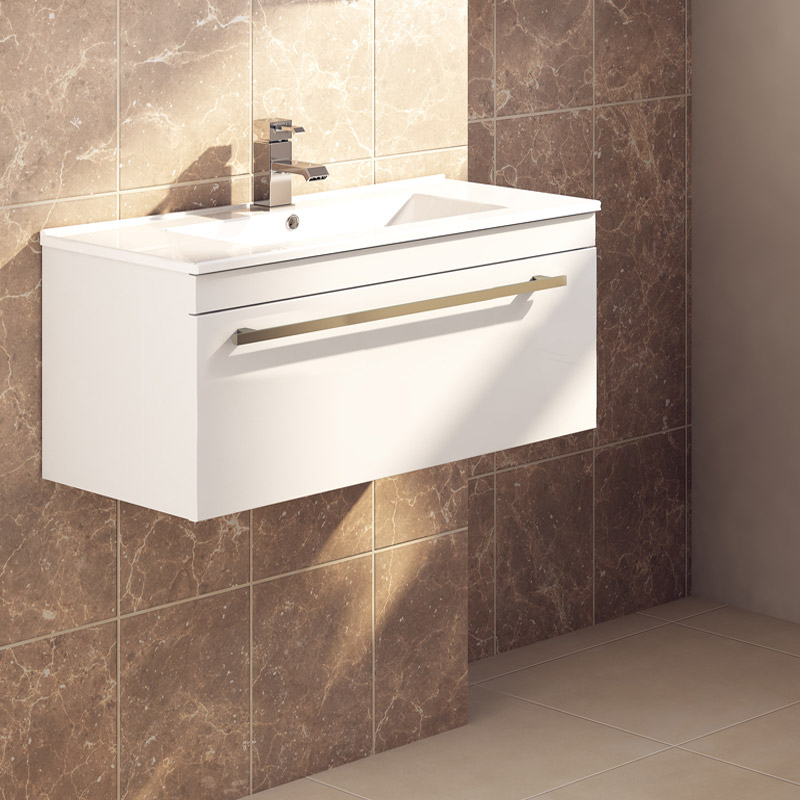 Nova High Gloss White Wall Mounted Basin Unit W1000 X D400mm Vtww1000 At Victorian Plumbing Uk