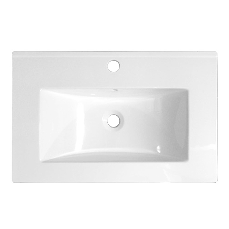 Nova Wall Hung Vanity Sink With Cabinet - 600mm Modern High Gloss White Profile Large Image