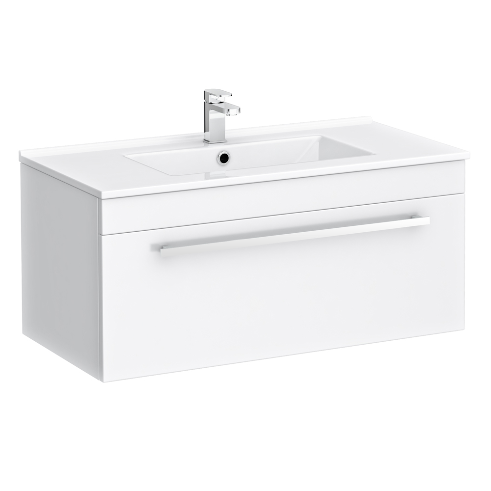 Nova Wall Hung Vanity Sink With Cabinet - 800mm Modern High Gloss White Large Image