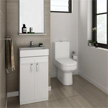 Nova Small Cloakroom Suite - Gloss White Medium Image