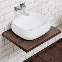 Nova Wall Hung Slimline Countertop Basin Shelf (600mm Wide - Dark Wood) Medium Image