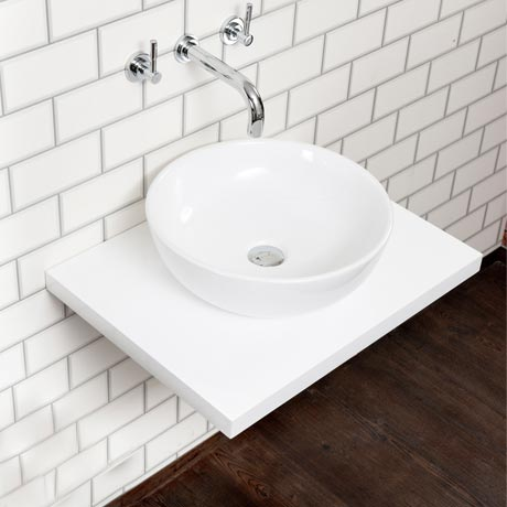 Nova Wall Hung Slimline Countertop Basin Shelf (600mm Wide - White)