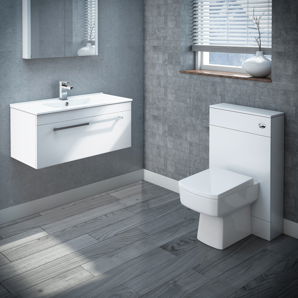 Nova Wall Hung Vanity Sink With Cabinet - 800mm Modern High Gloss White Profile Large Image
