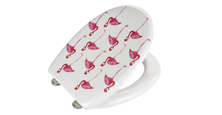 Novelty Toilet Seat With A Flamingo Pattern