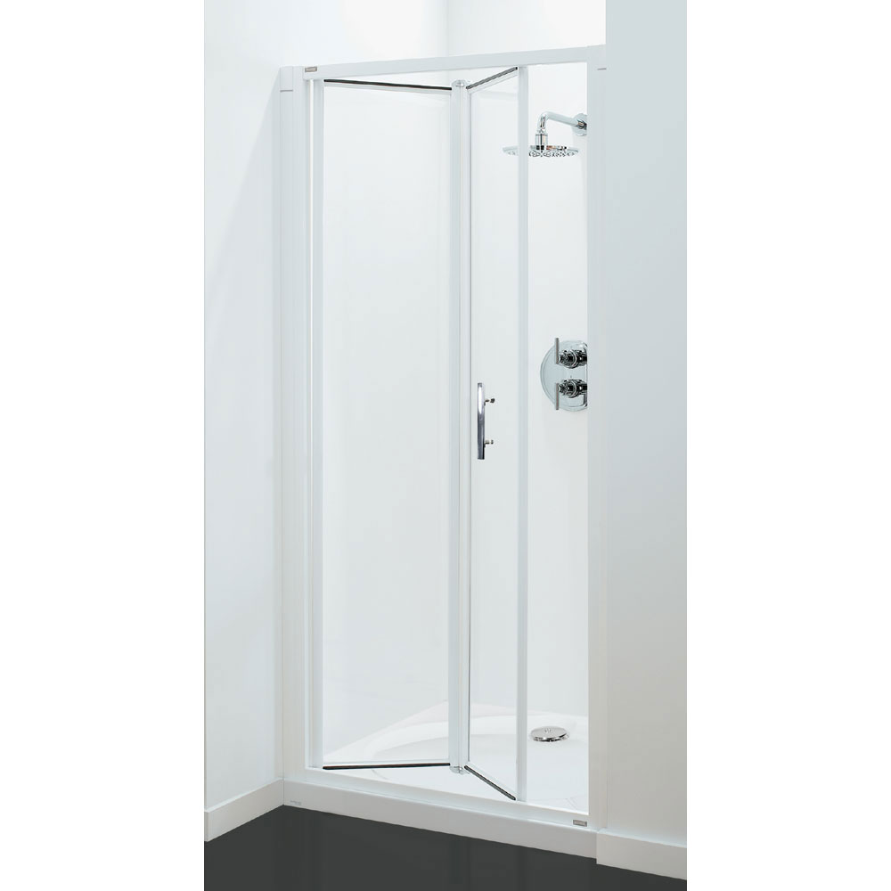 Coram - Optima Bi-Fold Shower Door - White - Various Size Options