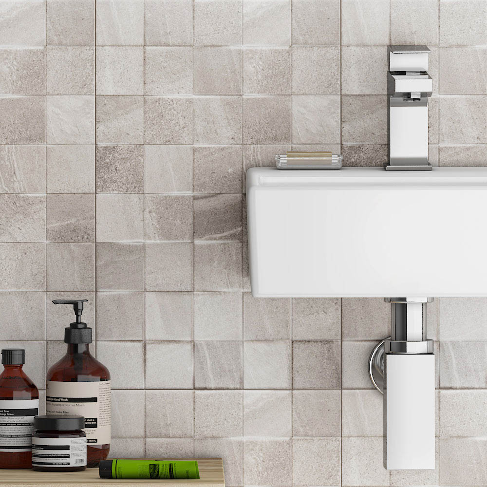 Oceania Stone Grey Mosaic Wall Tiles  Feature Large Image