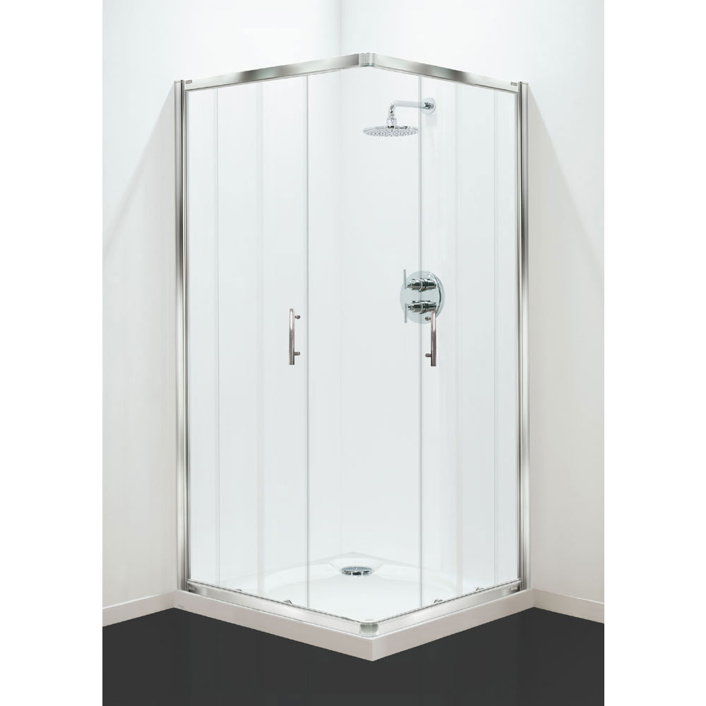 Coram - Optima Corner Entry Shower Enclosure - Chrome - Various Size Options profile large image view 1