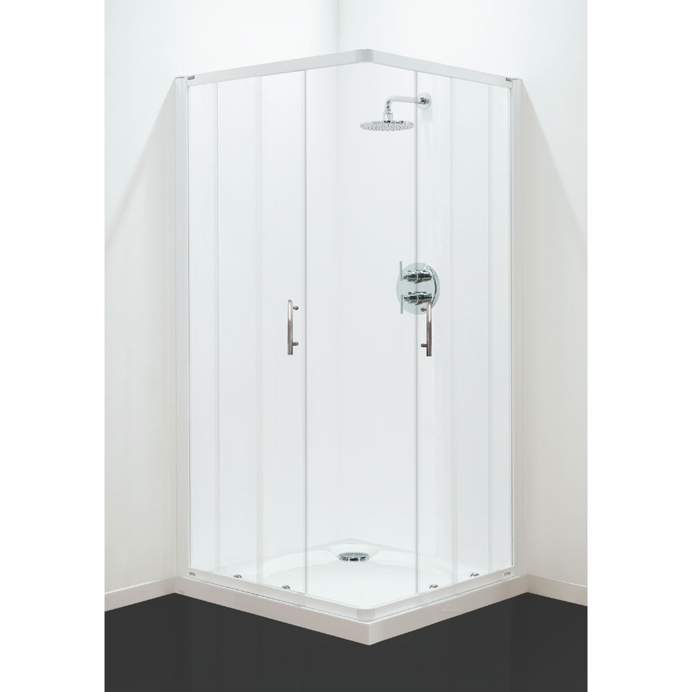 Coram - Optima Corner Entry Shower Enclosure - White - Various Size Options Large Image