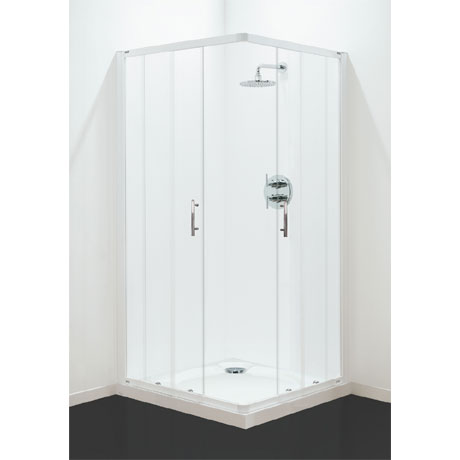 Coram - Optima Corner Entry Shower Enclosure - White - Various Size Options