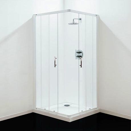 Coram - Optima Corner Entry Shower Enclosure - White - Various Size Options