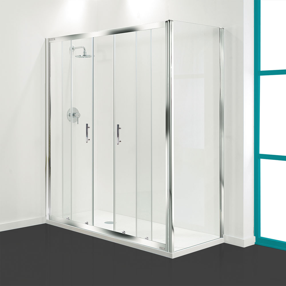 Coram - Optima Double Sliding Shower Door - Chrome - Various Size Options profile large image view 1