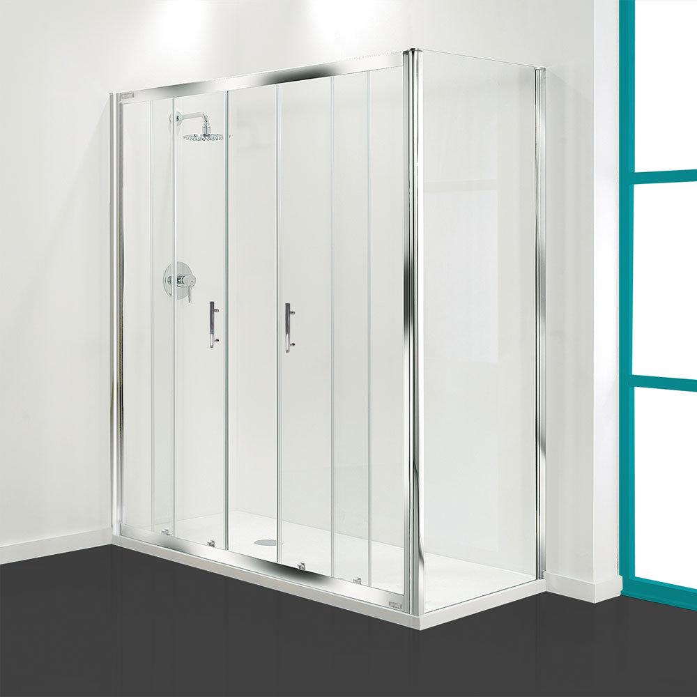Coram - Optima Double Sliding Shower Door - Chrome - Various Size Options Large Image