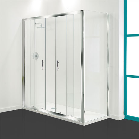 Coram - Optima Double Sliding Shower Door - Chrome - Various Size Options