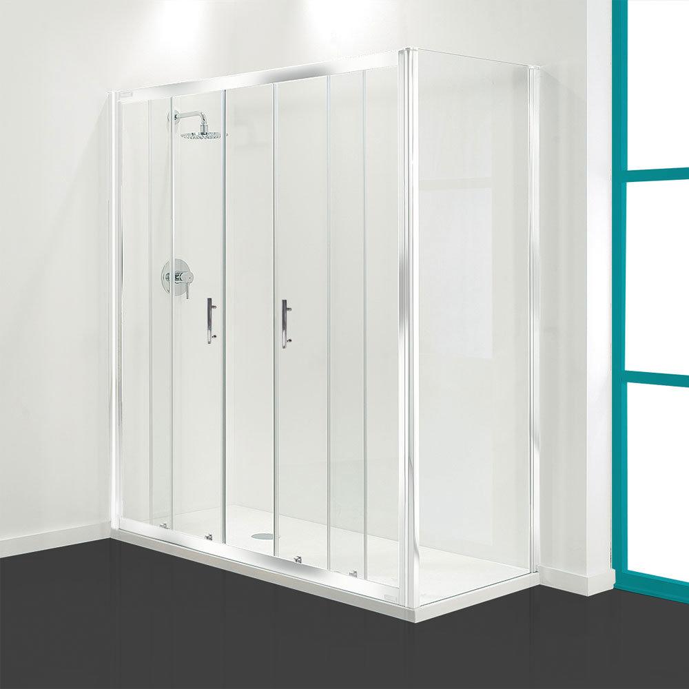 Coram - Optima Double Sliding Shower Door - White - Various Size Options Large Image