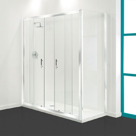 Coram - Optima Double Sliding Shower Door - White - Various Size Options