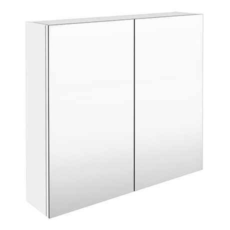 Brooklyn 800mm Gloss White Bathroom Mirror Cabinet - 2 Door