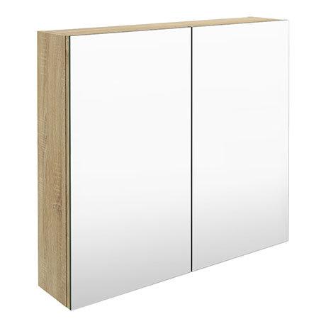 Brooklyn 800mm Natural Oak Bathroom Mirror Cabinet - 2 Door