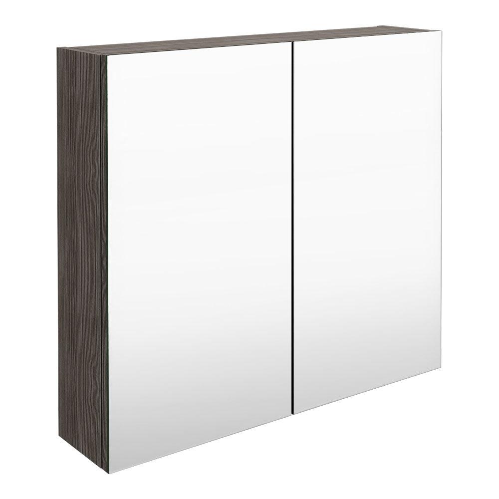 Brooklyn 800mm Grey Avola Bathroom Mirror Cabinet - 2 Door