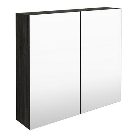 Brooklyn 800mm Hacienda Black Bathroom Mirror Cabinet - 2 Door