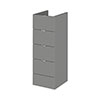 Hudson Reed 300x355mm Gloss Grey Full Depth 4 Drawer Unit Medium Image