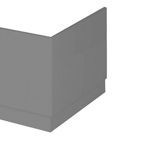 Hudson Reed Gloss Grey 750 End Straight Bath Panel - OFF971