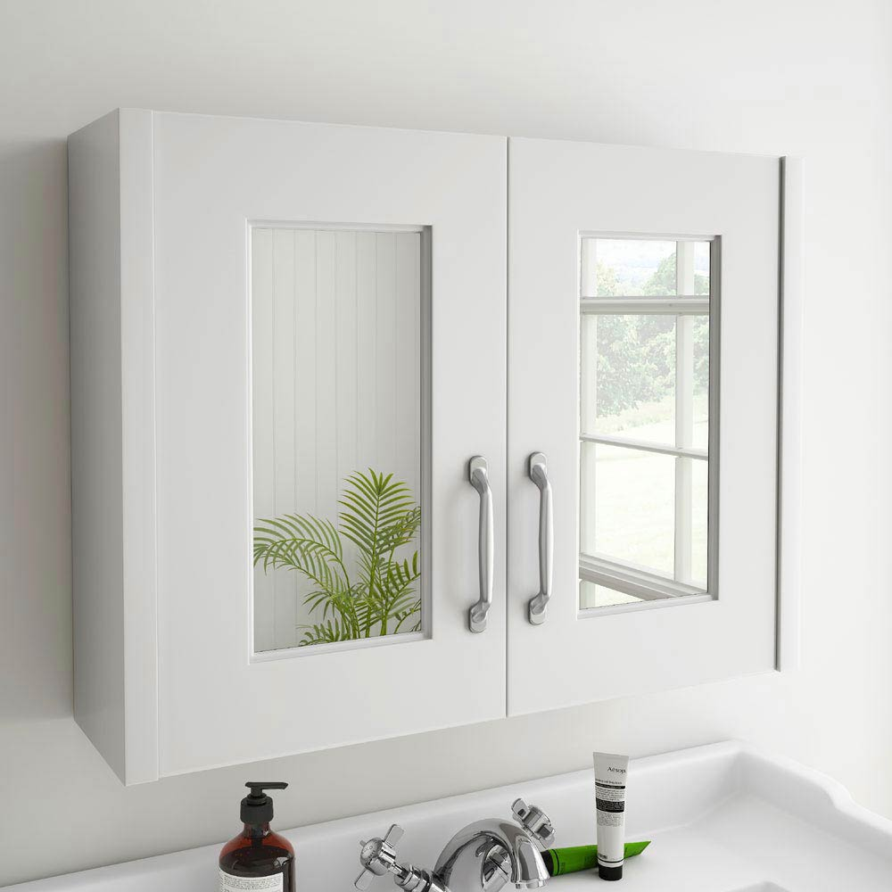 York Traditional White 2 Door Mirror Cabinet (800 x 162mm) profile large image view 3