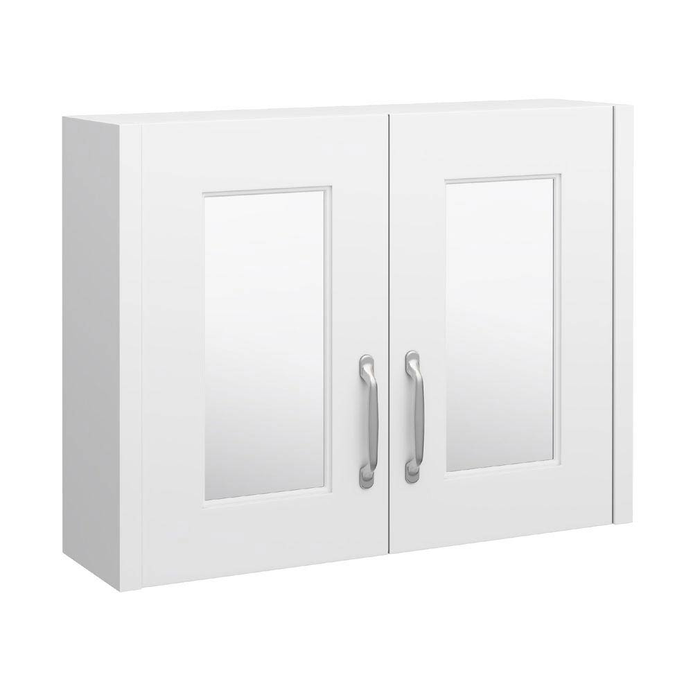 York Traditional White 2 Door Mirror Cabinet (800 x 162mm) profile large image view 1