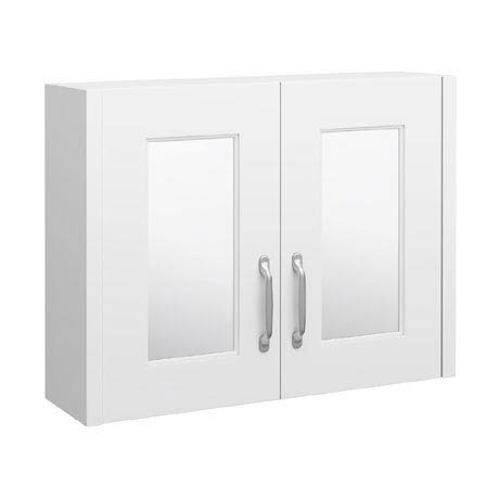 York Traditional White 2 Door Mirror Cabinet (800 x 162mm)