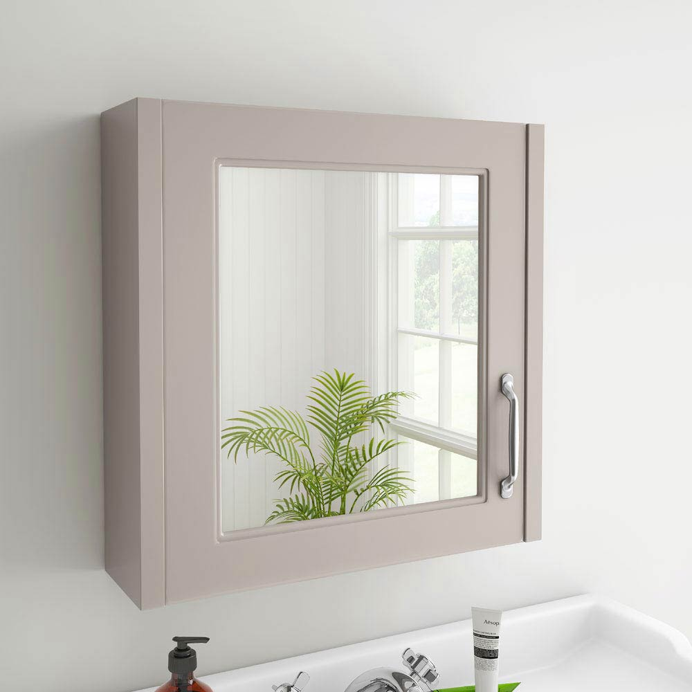 York Grey Bathroom Cabinet with Mirror - 600mm profile large image view 2