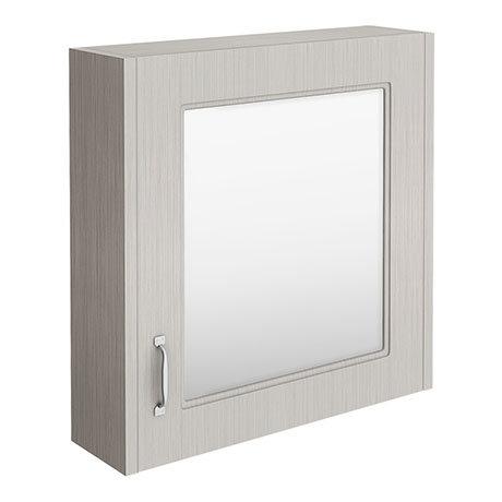 York Grey Bathroom Cabinet with Mirror - 600mm