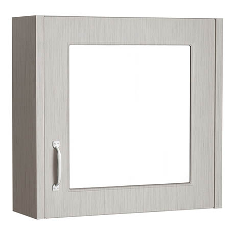 York Grey Bathroom Cabinet with Mirror - 600mm