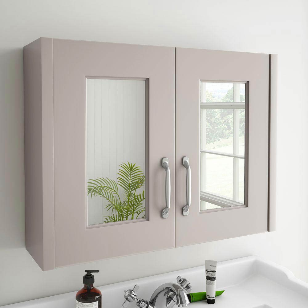 York Traditional Grey 2 Door Mirror Cabinet (800 x 162mm) profile large image view 3