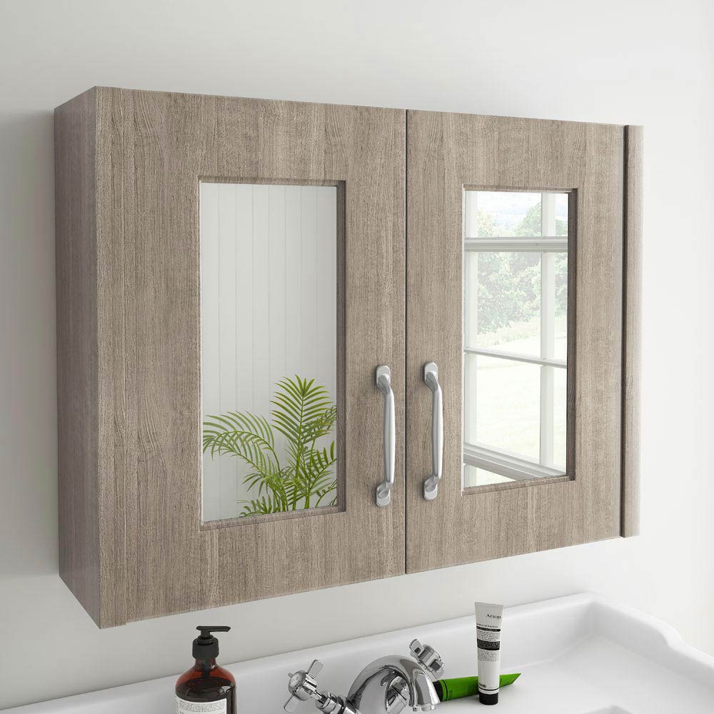 York Traditional Wood Finish 2 Door Mirror Cabinet (800 x 162mm) Profile Large Image