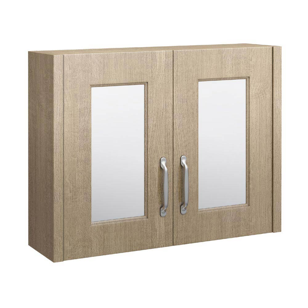 York Traditional Wood Finish 2 Door Mirror Cabinet (800 x 162mm) Large Image