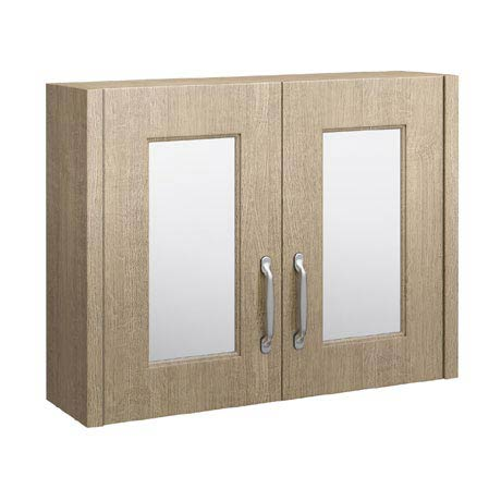 York Traditional Wood Finish 2 Door Mirror Cabinet (800 x 162mm)