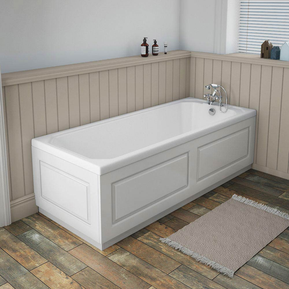 York White Traditional Front Bath Panel & Plinth - 1700mm Profile Large Image