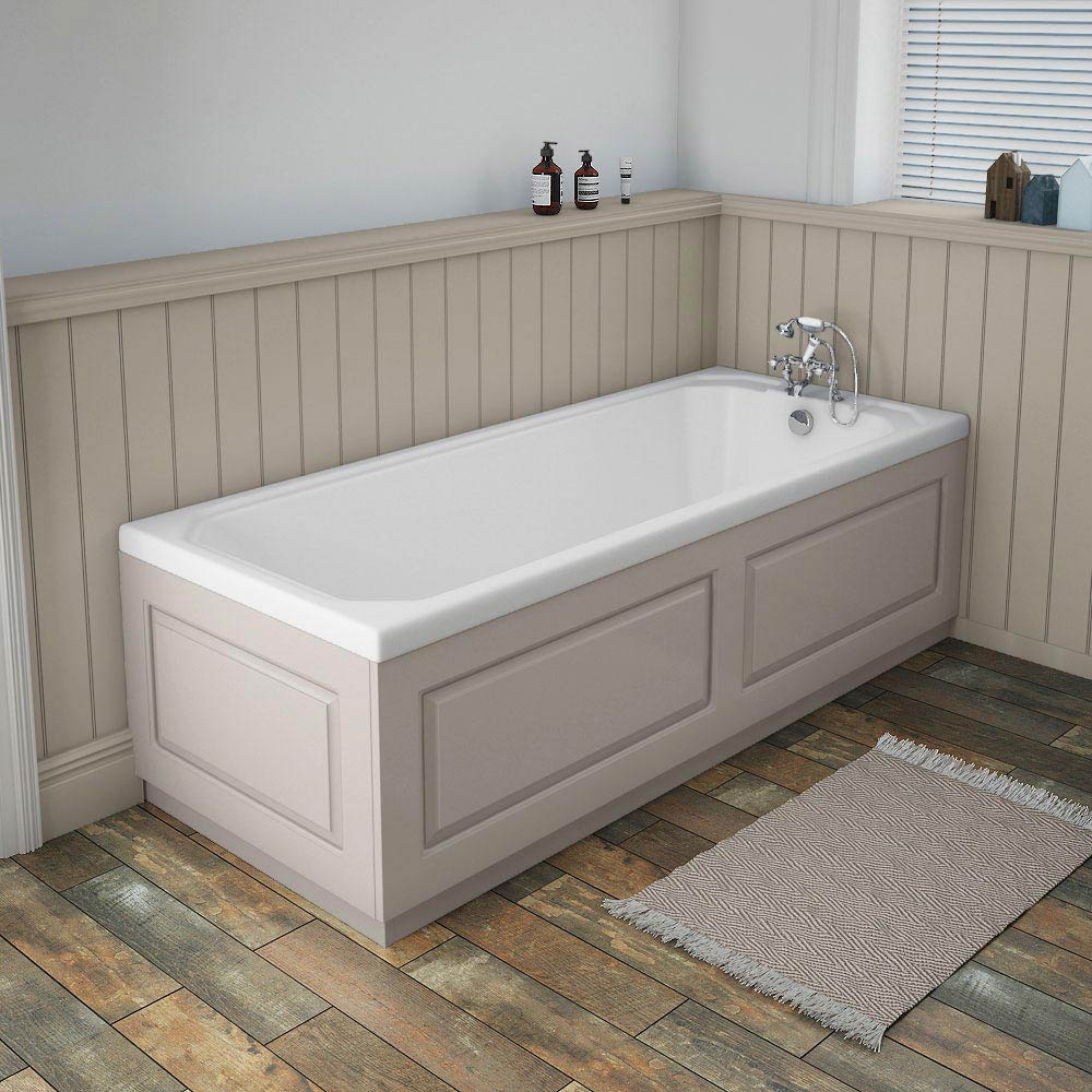York Grey Traditional Front Bath Panel & Plinth - 1700mm profile large image view 2
