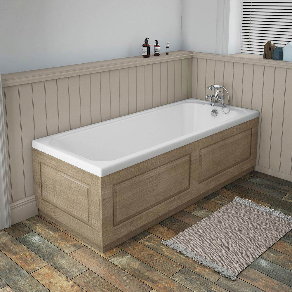 York Wood Finish Traditional End Bath Panel & Plinth - 700mm Profile Large Image