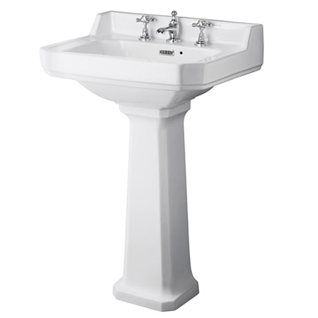 Old London Richmond 560mm Traditional 3TH Basin & Full Pedestal