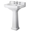 Old London Richmond 560mm Traditional 3TH Basin & Full Pedestal profile small image view 1