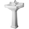 Old London - Richmond Traditional 1TH Basin & Pedestal - Various Size Options Small Image