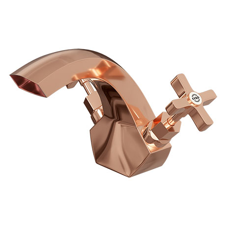 Olympia Rose Gold Art Deco Basin Mixer Tap + Pop Up Waste